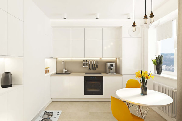 Интерьер в светлых тонах для небольшой кухни