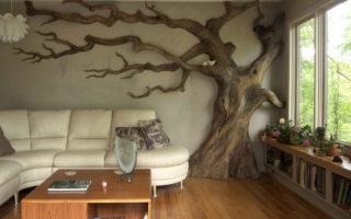 Дерево на стене идея для эффектного украшения стен