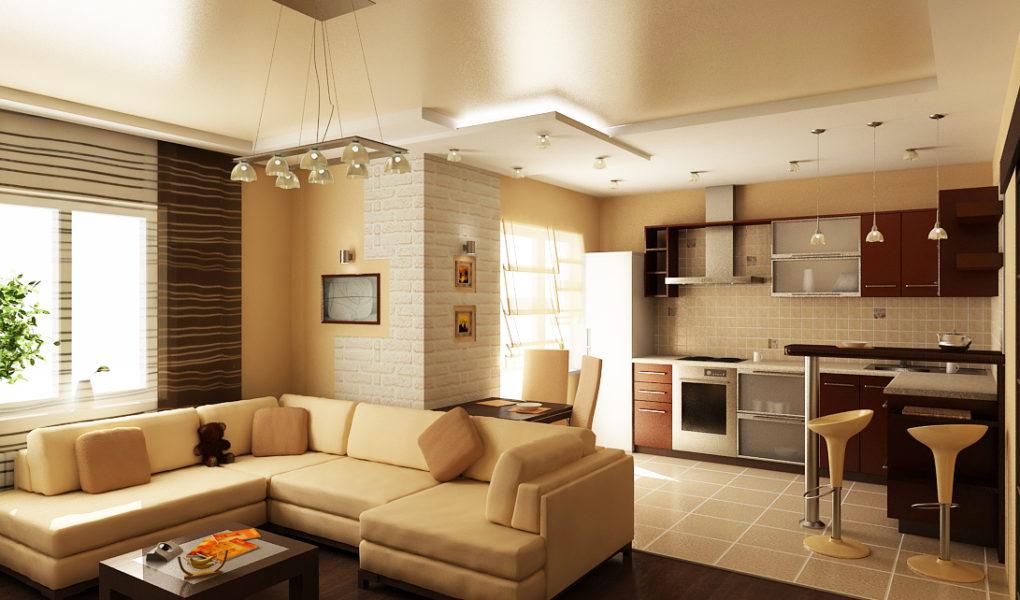 Как обустроить кухню совмещенную с гостиной